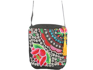 Flower Tassel Fabric Embroidery Crossbody Bag with Zipper Closure