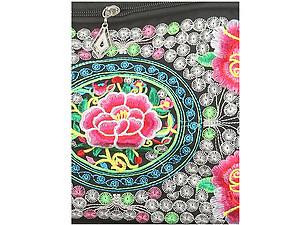 Fabric Embroidery Flower Makeup Cosmetic Pouch Bag with Adjustable Strap