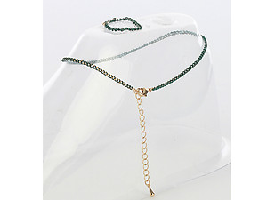 Dark Green 2 Piece Color Chain Toe Ring and Anklet Set