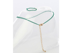 Green 2 Piece Color Chain Toe Ring and Anklet Set