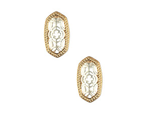 Matte Finish Metal Oval Filigree Style Two Tone Cutout Post Pin Earrings