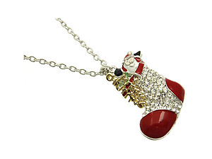 Silvertone Santa Claus Christmas Holiday Link Stocking Necklace