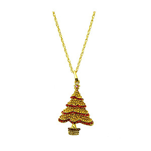 Yellow Christmas Tree Christmas Holiday Link Necklace in Goldtone