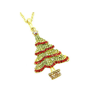 Green Christmas Tree Christmas Holiday Link Necklace in Goldtone