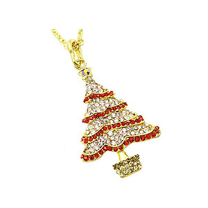 Pink Christmas Tree Christmas Holiday Link Necklace in Goldtone