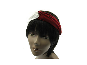 Dark Red & White Fabric Intercross Fashion Headband Hair Accessory