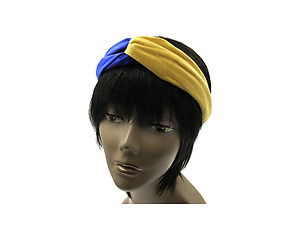 Blue & Tan Fabric Intercross Fashion Headband Hair Accessory
