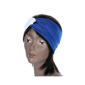 Blue & White Fabric Stretch Double Layer Fashion Headband Hair Accessory