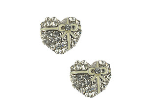 Silvertone Crystal Stone Metal Heart Shaped Earrings