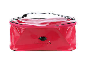 Red Vinyl Makeup Cosmetic Bag Accessory With Zipper Closure