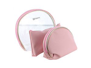 3 Pc Vinyl Makeup Cosmetic Bag Accessory With Zipper Closure