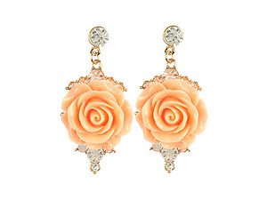Colorful & Fun Lucite Rose Dangle Crystal Stone Earrings