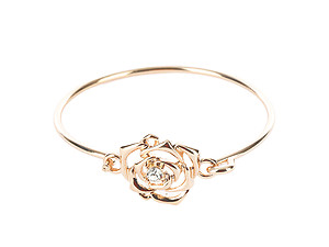 Crystal Stone Cutout Metal Rose Bangle Bracelet with Hook Closure