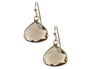 Trillion Cut Faceted Lucite Stone Metal Frame Fish Hook Earrings