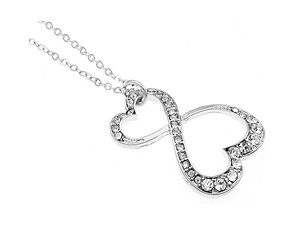 Silvertone Crystal Stone Hearts Necklace