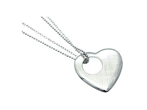Metal Heart Scratched Charm Necklace
