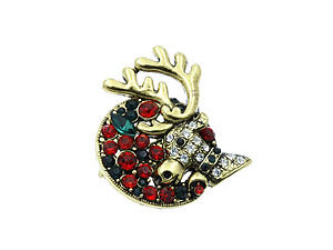 Christmas Reindeer Pin & Brooch with Gold Trim