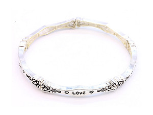 Love Stretch Bracelet in Antique Silvertone