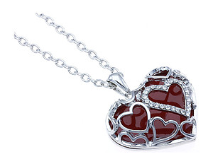 Red Crystal Stone Hearts Necklace