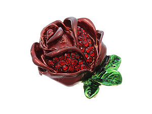Austrian Crystal Red Rose Pin & Brooch
