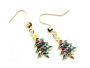 Multi-Colored Christmas Tree Fish Hook Earrings