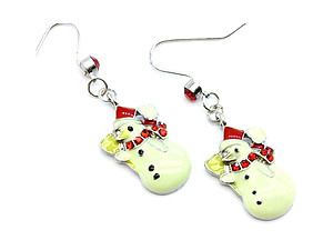 Christmas Snowman Fish Hook Earrings