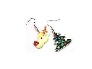 Christmas Tree & Deer Fish Hook Earrings