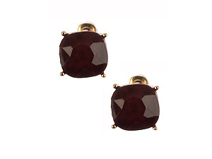 Cushion Cut Faceted Lucite Stone Metal Setting Post Pin Earrings
