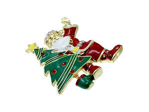 Santa w/ Tree Pin and Brooch in Gold Tone