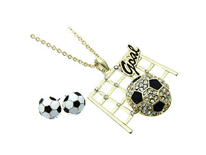 Goldtone Soccer Goal Jewelry Set
