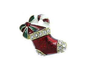 Austrian Crystal Christmas Stocking Pin & Brooch