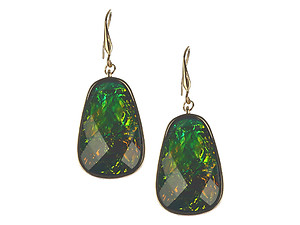 Shimmer Finish Faceted Lucite Stone Iridescent Metal Frame Earrings