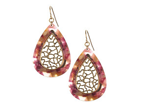 Matte Finish Metal Filigree Teardrop Natural Stone Finish Earrings