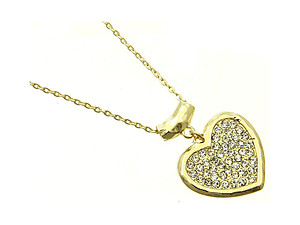 Goldtone Hammered Metal Crystal Stone Heart Necklace