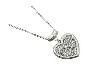 Silvertone Hammered Metal Crystal Stone Heart Necklace