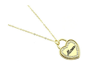 Goldtone MOM Message Link Heart Necklace