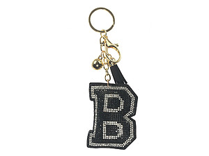 Black Initial B Tassel Bling Faux Suede Stuffed Pillow Key Chain Handbag Charm