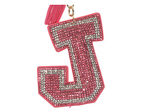 Pink Initial J Tassel Bling Faux Suede Stuffed Pillow Key Chain Handbag Charm