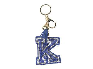 Blue Initial K Tassel Bling Faux Suede Stuffed Pillow Key Chain Handbag  Charm