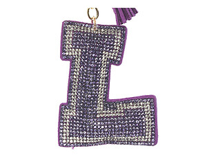 Purple Initial L Tassel Bling Faux Suede Stuffed Pillow Key Chain Handbag Charm