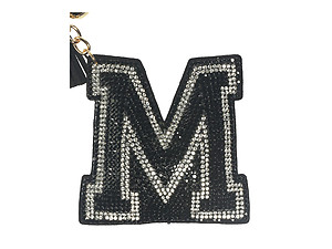 Black Initial M Tassel Bling Faux Suede Stuffed Pillow Key Chain Handbag Charm