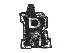 Black Initial R Tassel Bling Faux Suede Stuffed Pillow Key Chain Handbag Charm