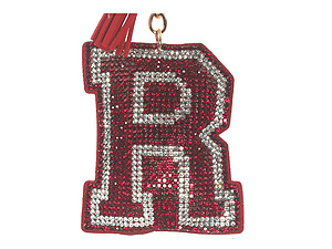 Red Initial R Tassel Bling Faux Suede Stuffed Pillow Key Chain Handbag Charm