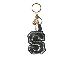 Black Initial S Tassel Bling Faux Suede Stuffed Pillow Key Chain Handbag Charm