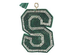 Green Initial S Tassel Bling Faux Suede Stuffed Pillow Key Chain Handbag Charm