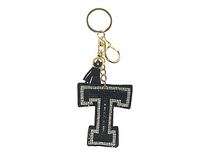 Black Initial T Tassel Bling Faux Suede Stuffed Pillow Key Chain Handbag Charm