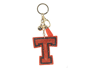Orange Initial T Tassel Bling Faux Suede Stuffed Pillow Key Chain Handbag Charm