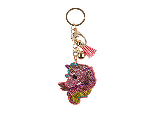 Unicorn Head Tassel Bling Faux Suede Stuffed Pillow Key Chain Handbag Charm