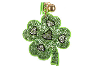 Shamrock Tassel Bling Faux Suede Stuffed Pillow Key Chain Handbag Charm