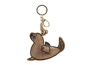 Light Colorado Topaz Sea Lion Tassel Bling Faux Suede Stuffed Pillow Key Chain Handbag Charm